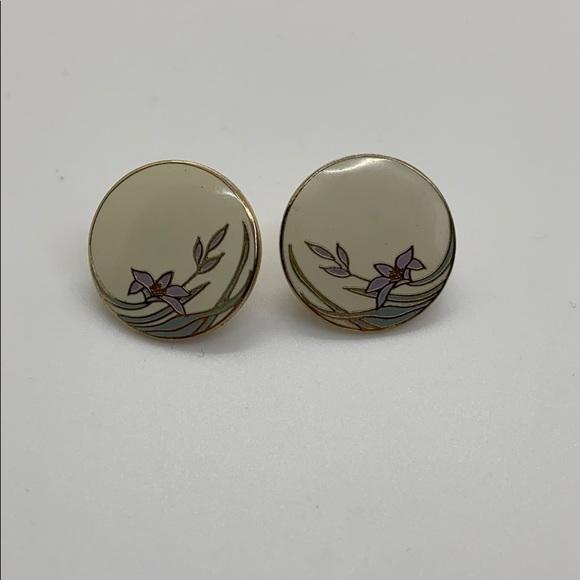 Windflower Laurel Burch vintage stud earrings